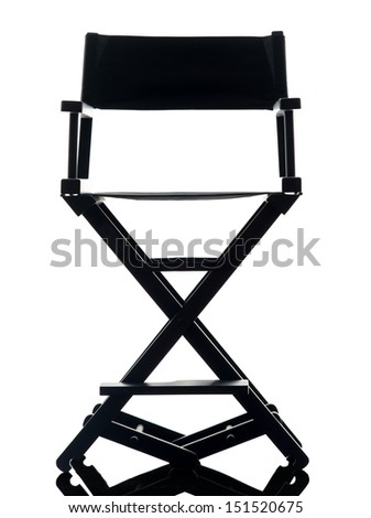 one director chair  in silhouette  on white background - stock photo