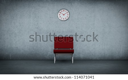 one dirty room with a red chair and a clock on the wall (3d render)