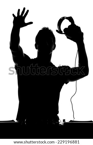 One disc jockey man in silhouette on white background. - stock photo