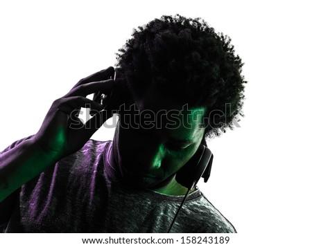 one disc jockey man portrait in silhouette  on white background - stock photo