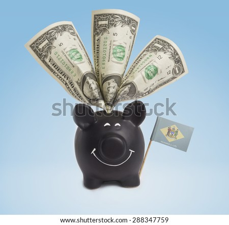 One dollar banknote in a smiling piggybank of Delaware.(series) - stock photo