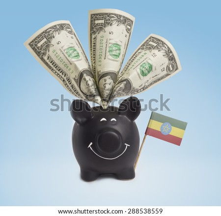 One dollar banknote in a smiling piggybank of Ethiopia.(series) - stock photo