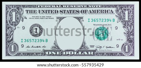 One dollar banknote isolated