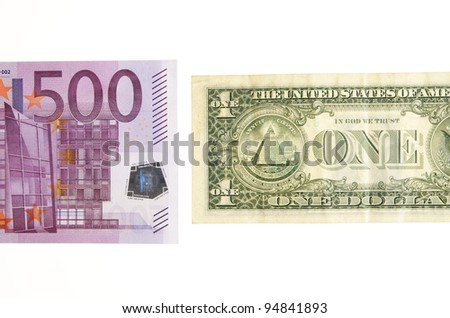 one dollar bill in front of a 500 euro banknote