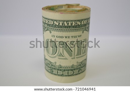 One Dollar Bill in the middle
