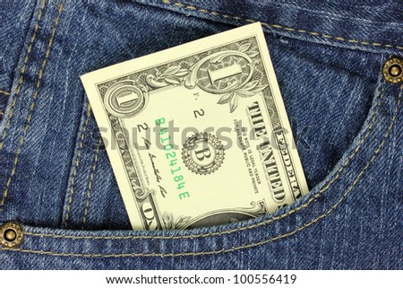 One dollar bill in the pocket - stock photo
