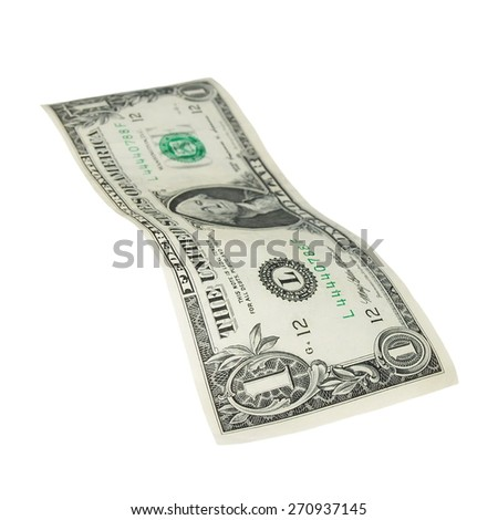 One dollar bill isolated falling on white background