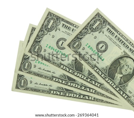 One dollar bill isolated on white  - stock photo