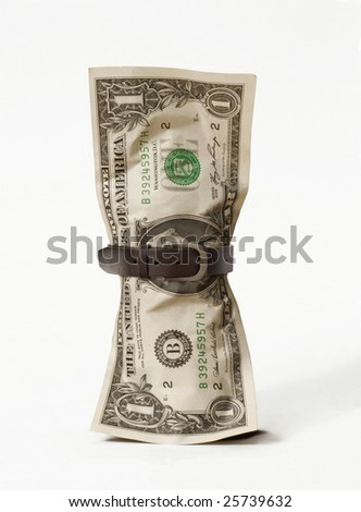 One dollar bill with a belt. One dollar bill.Money concept. - stock photo