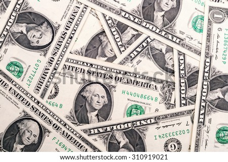One dollar bills background - stock photo