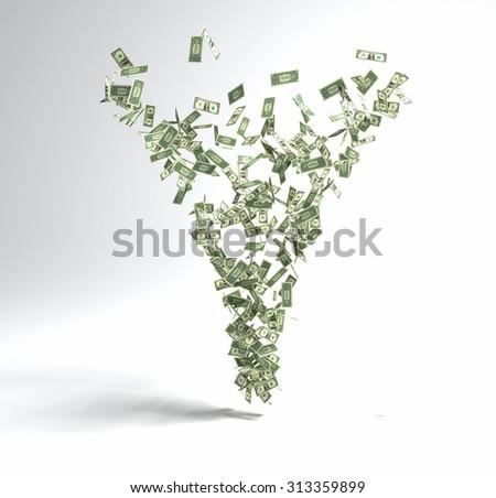 One dollar bills tornado.3D render isolated. - stock photo
