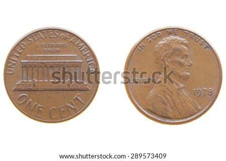 One Dollar Cent coin isolated over a white background - front and rear side - stock photo