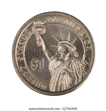 One Dollar Coin isolated on a white background. - stock photo