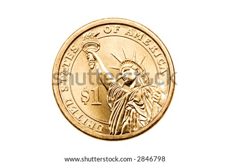 one dollar coin isolated on white, US$1 macro - stock photo