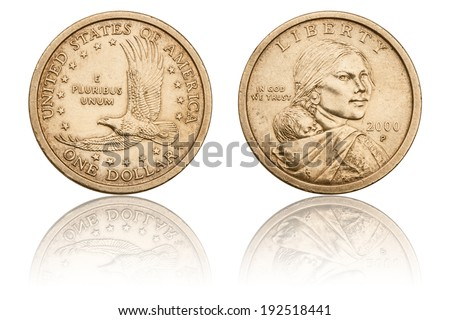 One Dollar Coin, The Obverse and Reverse, U.S. Coins and Currency, Used Coin, Numismatics - stock photo