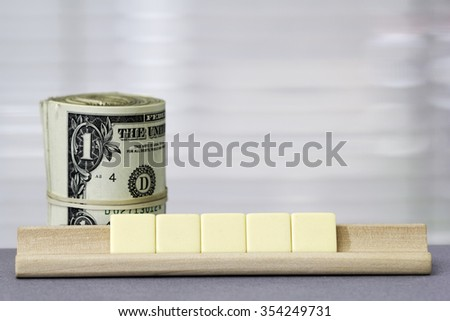 One dollar Copy Space for five letters - stock photo