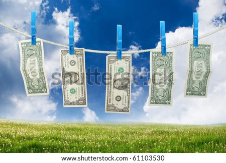 One Dollar Hanging a Rope with Clothespins on landscape background - stock photo