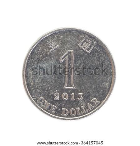 One dollar hongkong coin isolated on white background