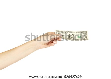 One dollar in isolated female hand on a white background.