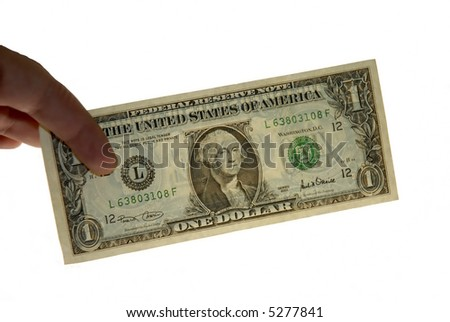 one dollar in the hand in white background
