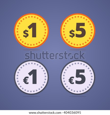 One dollar medal, coin. Five dollars medal. One euro coin. Five euros coin. Gold and silver coin medals with dollar and euro and stars.  - stock photo
