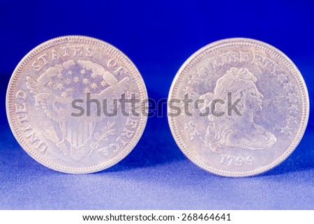 One dollar silver coin front and reverse with Liberty on the reverse - stock photo