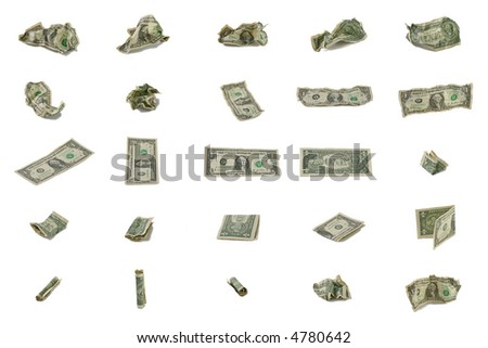 One Dollar  - variations of angles and view - stock photo
