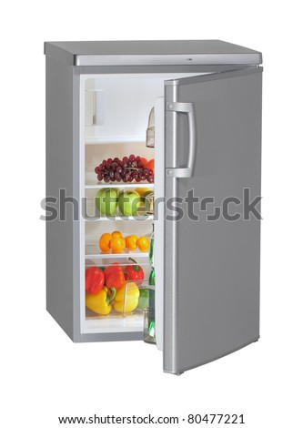 One door INOX refrigerator isolated on white - stock photo