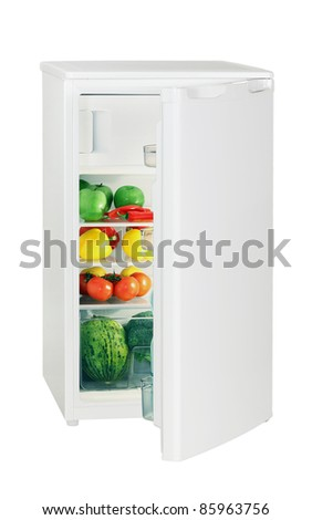 One door refrigerator isolated on white - stock photo