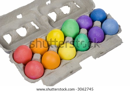 One Dozen Colorful Easter Eggs - Red Orange Yellow Green Blue Violet - stock photo