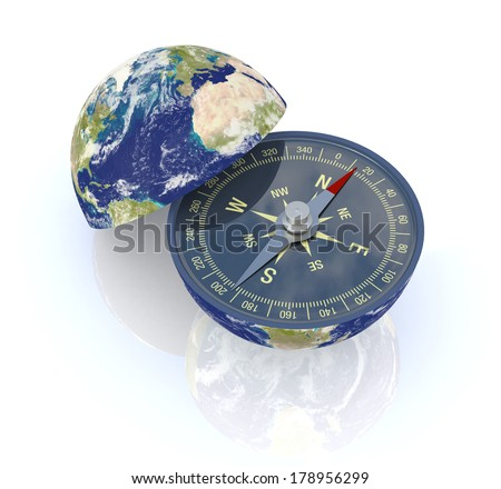 one earth globe divided into two parts, with a compass; concept of travel, but also as metaphor of finding the right way; Elements of this image furnished by NASA  (3d render) - stock photo