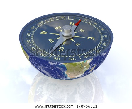 one earth globe divided into two parts, with a compass; concept of travel, but also as metaphor of finding the right way;Elements of this image furnished by NASA  (3d render) - stock photo