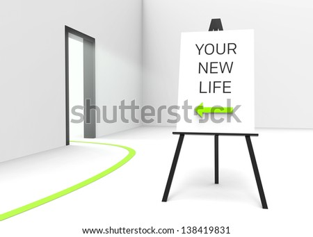 "One easel with a sign saying ""Your new life"" and an arrow pointing at a bright illuminated doorway, suggesting a new beginning. Perfect for therapeutic, religious or medical concepts."