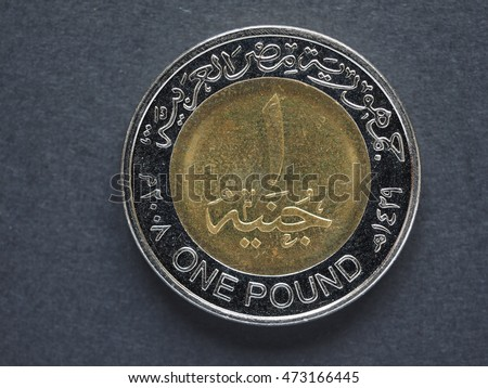One Egytian Pound Coin over black background
