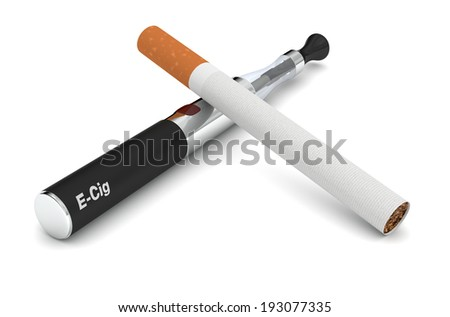 one electronic cigarette with a tobacco cigarette (3d render)