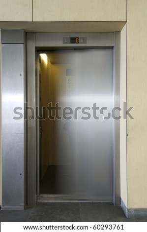 one elevator in the interior of a building