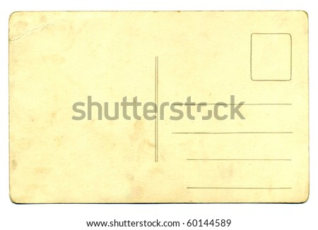 one empty blank vintage post card isolated on white background. - stock photo