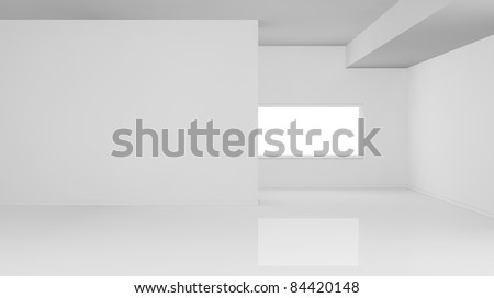 one empty bright  room with one window, the room is all white with no textures (3d render) - stock photo