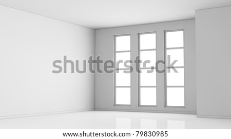 one empty bright  room with three big windows. the room is all white with no textures (3d render) - stock photo