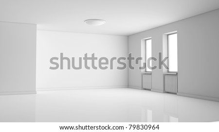one empty bright  room with two windows. the room is all white with no textures (3d render) - stock photo