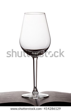 one empty glass for wine,  on white background isolated with reflection - stock photo