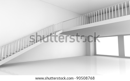 one empty room with a stair and a loft (3d render)