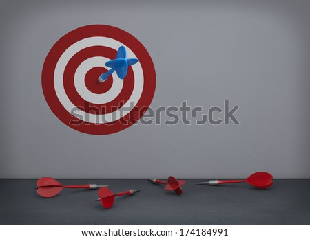 one empty room with a target printed on the wall, a dart on the center and some other darts on the floor (3d render) - stock photo