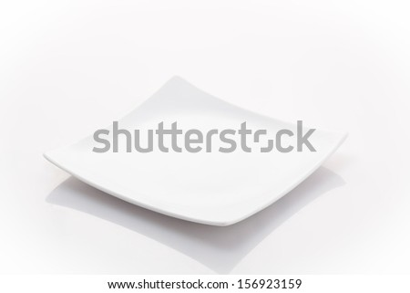 one empty square plate isolated on a white background - stock photo