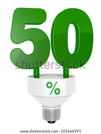 one energy saving light bulb with the number fifty instead of the pipe (3d render)