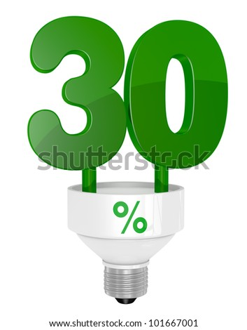 one energy saving light bulb with the number thirty instead of the pipe (3d render)