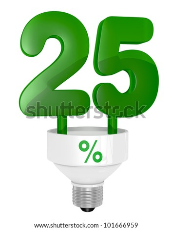 one energy saving light bulb with the number twenty five instead of the pipe (3d render)