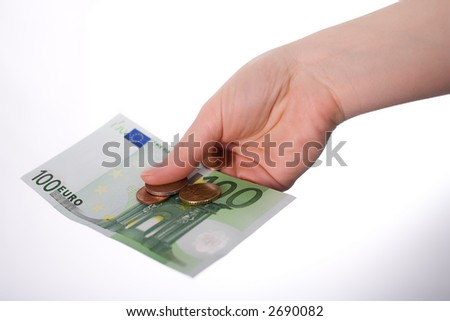 One 100 Euro-Banknote with some coins in first-person-view on outstretched arm. Isolated on white.
