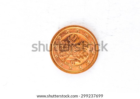 one Euro cent Coin with German backside used look - stock photo