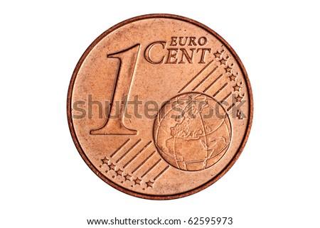 One euro cent on white background - stock photo